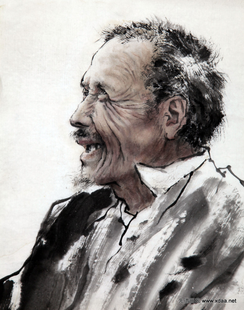 老人头像 - 先道艺术网